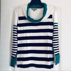 One A Teal White/Black Striped Cowl Neck Sweater